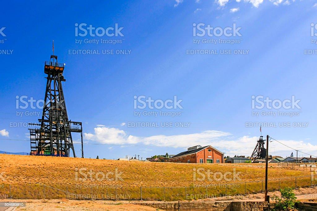 Copper mine site in Butte Montana stock photo