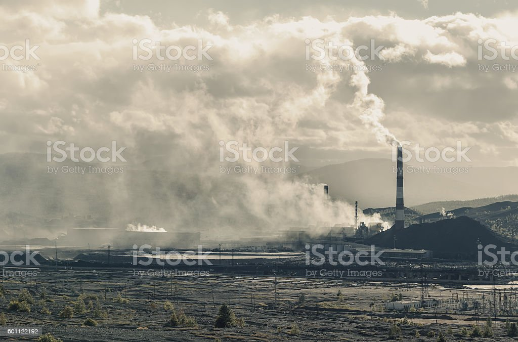 Copper mining plant and dumps Russia Karabash. environmental disaster stock photo