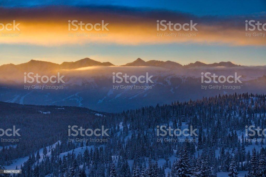 Copper Mountain Colorado Mountain Sunrise Winter stock photo