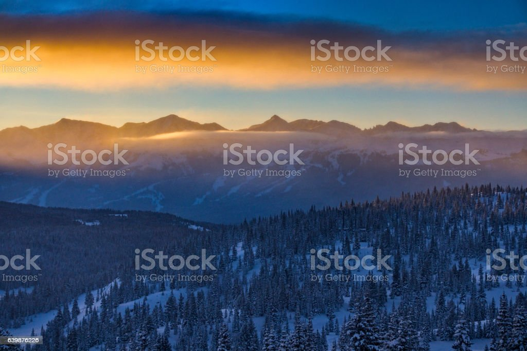 Copper Mountain Colorado Mountain Sunrise Winter stock photo