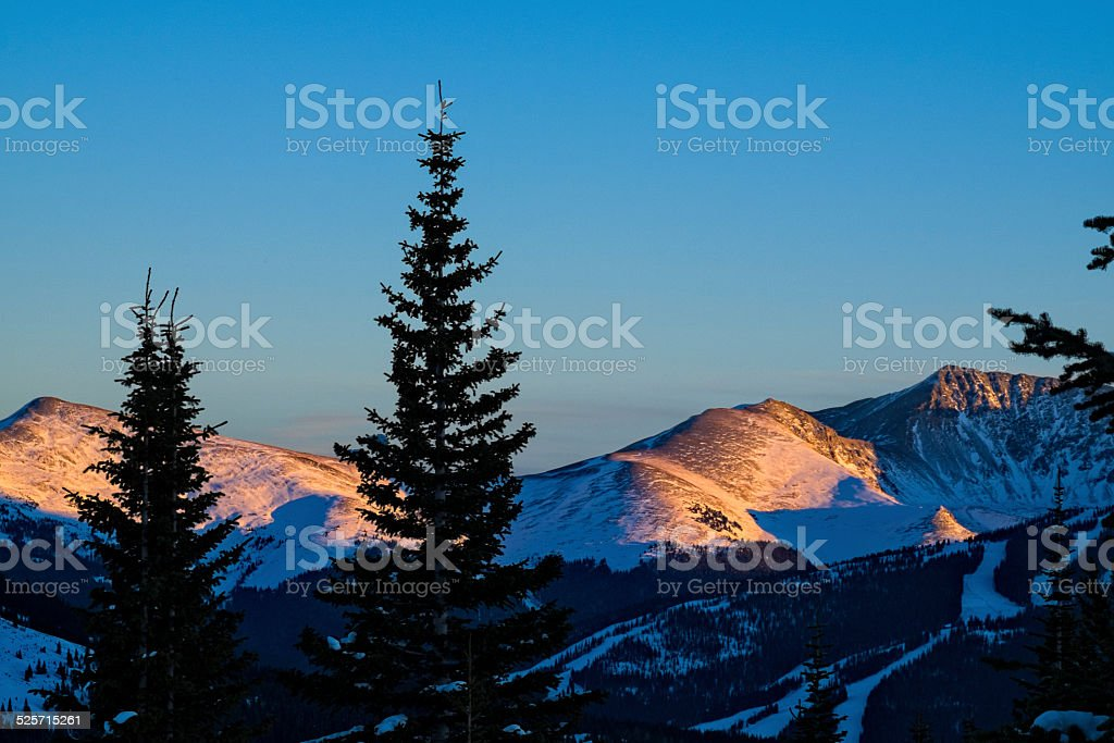 Copper Mountain Ski Runs at Sunset stock photo