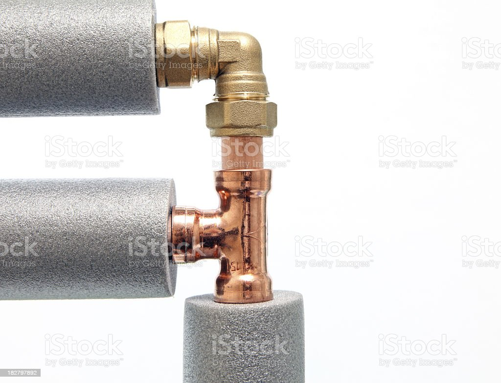 copper pipe connectors royalty-free stock photo