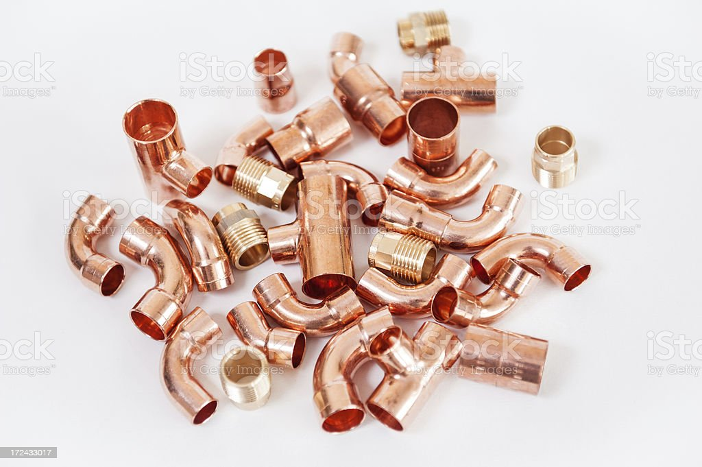 Copper pipe fittings royalty-free stock photo