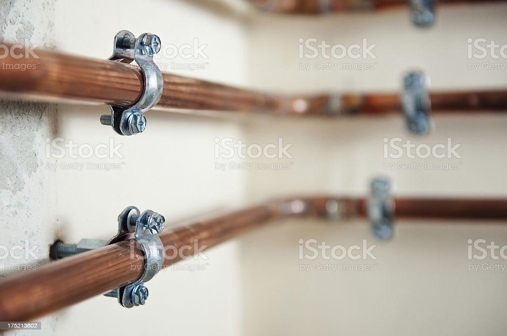 Copper pipe stock photo