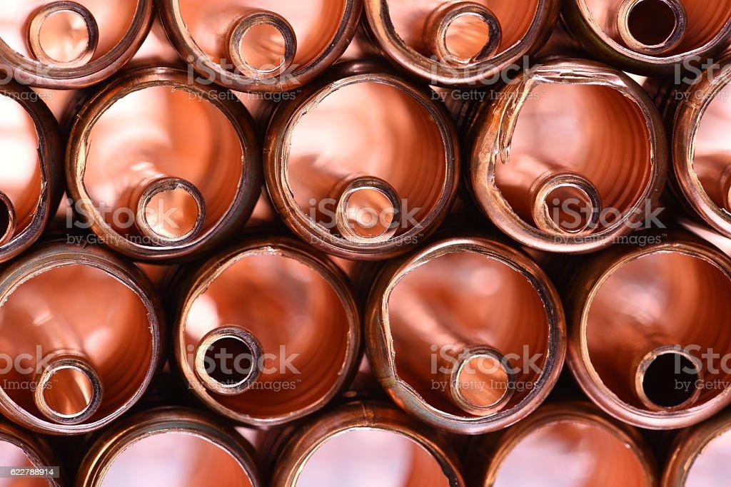 Copper Pipe Scrap stock photo