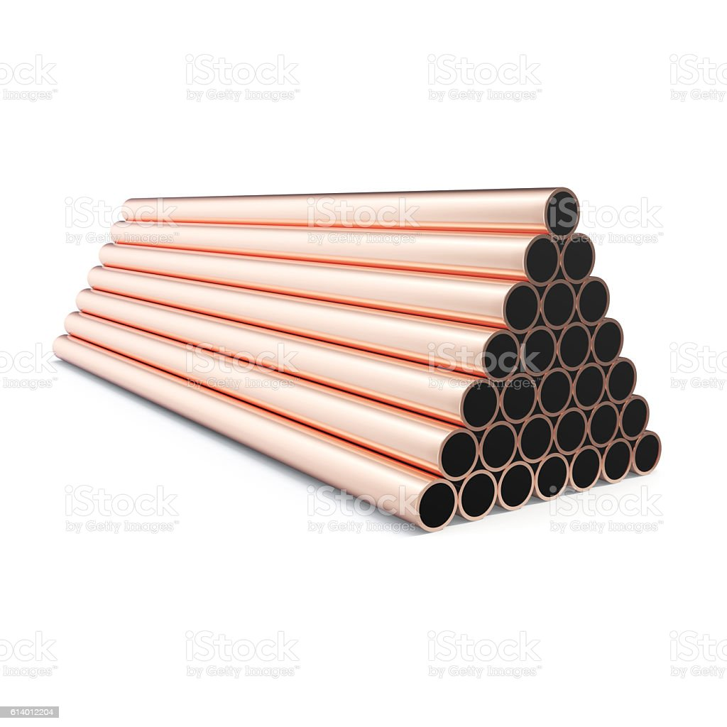 Copper pipes isolated on white background. 3d rendering stock photo