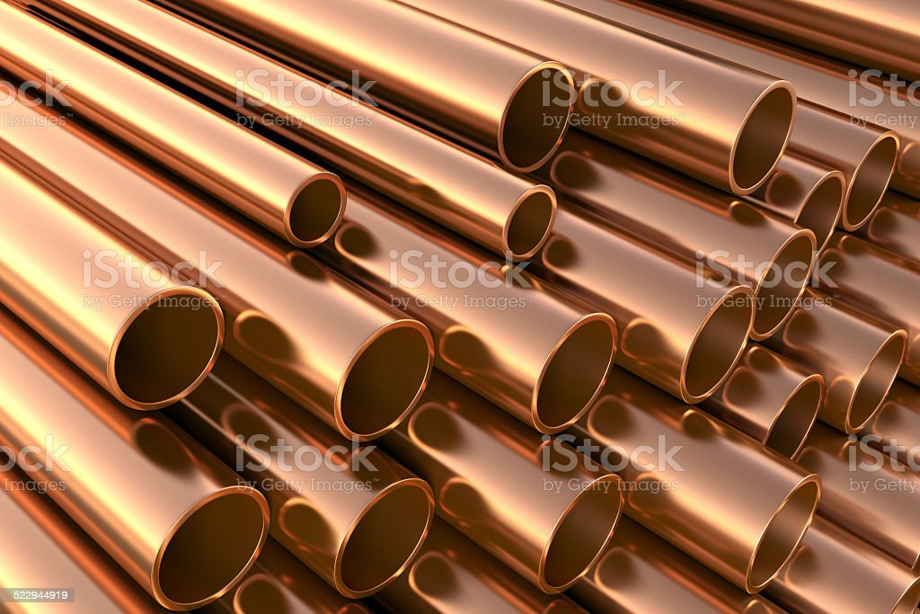 Copper pipes on warehouse. stock photo