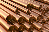 Copper pipes on warehouse.