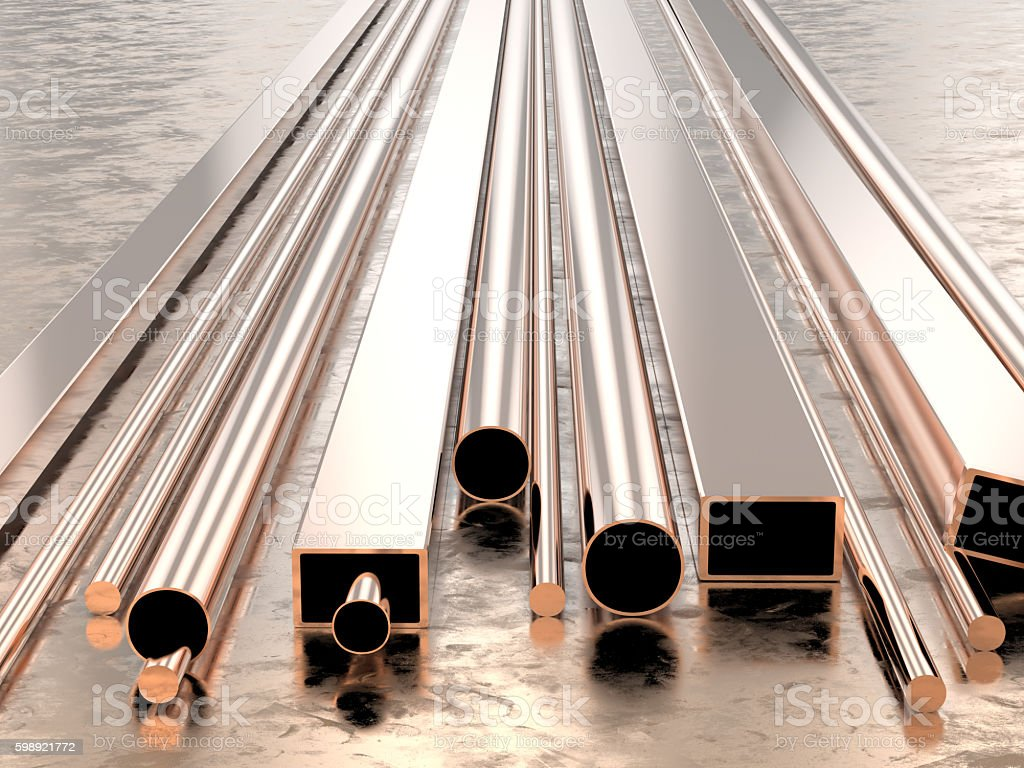 copper pipes stock photo
