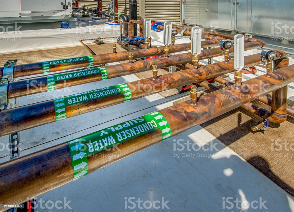 Copper Plumbing for HVAC System stock photo
