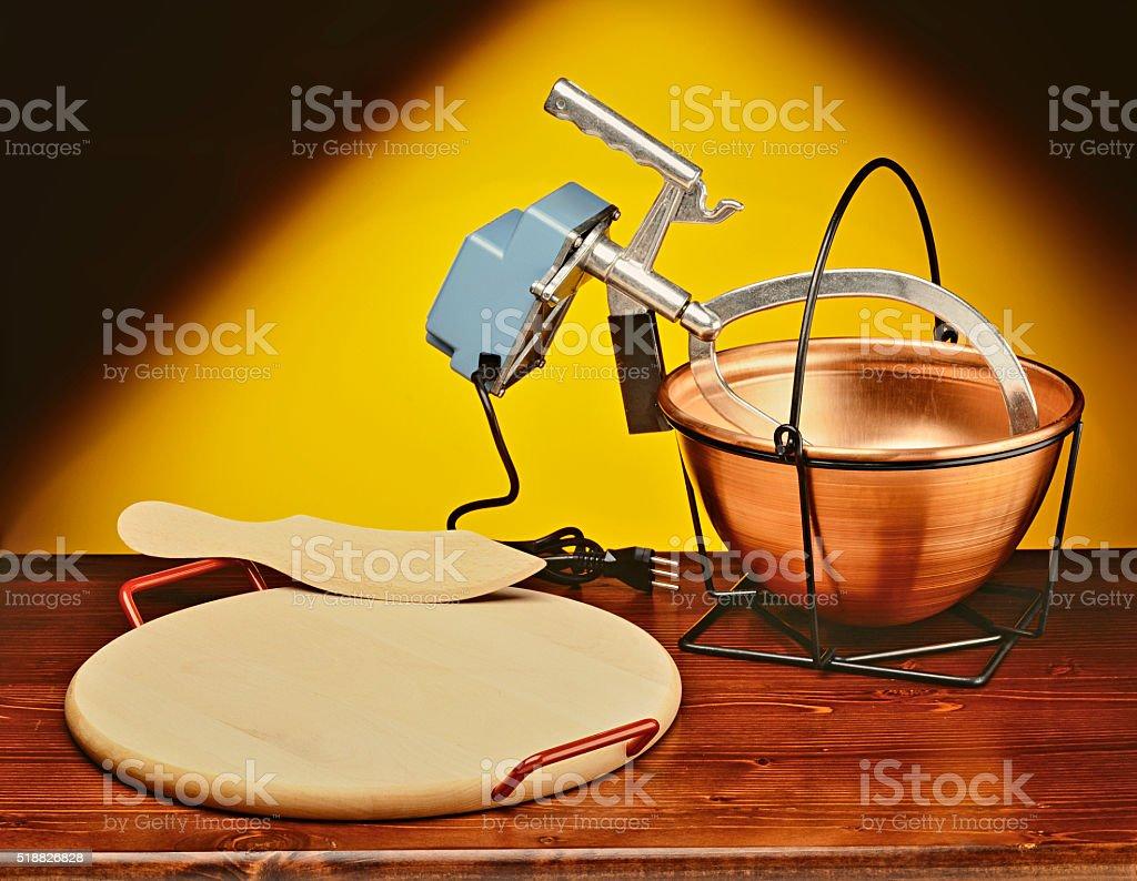 Copper pot to make cornmeal mush stock photo