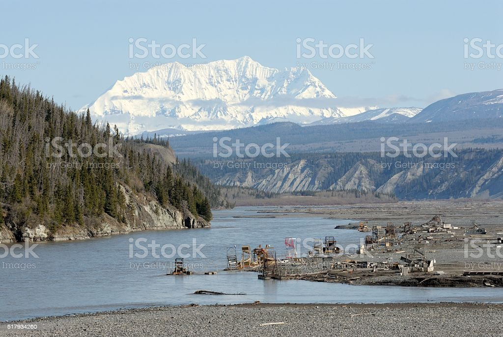 Copper River and the Wrangell Mountains stock photo