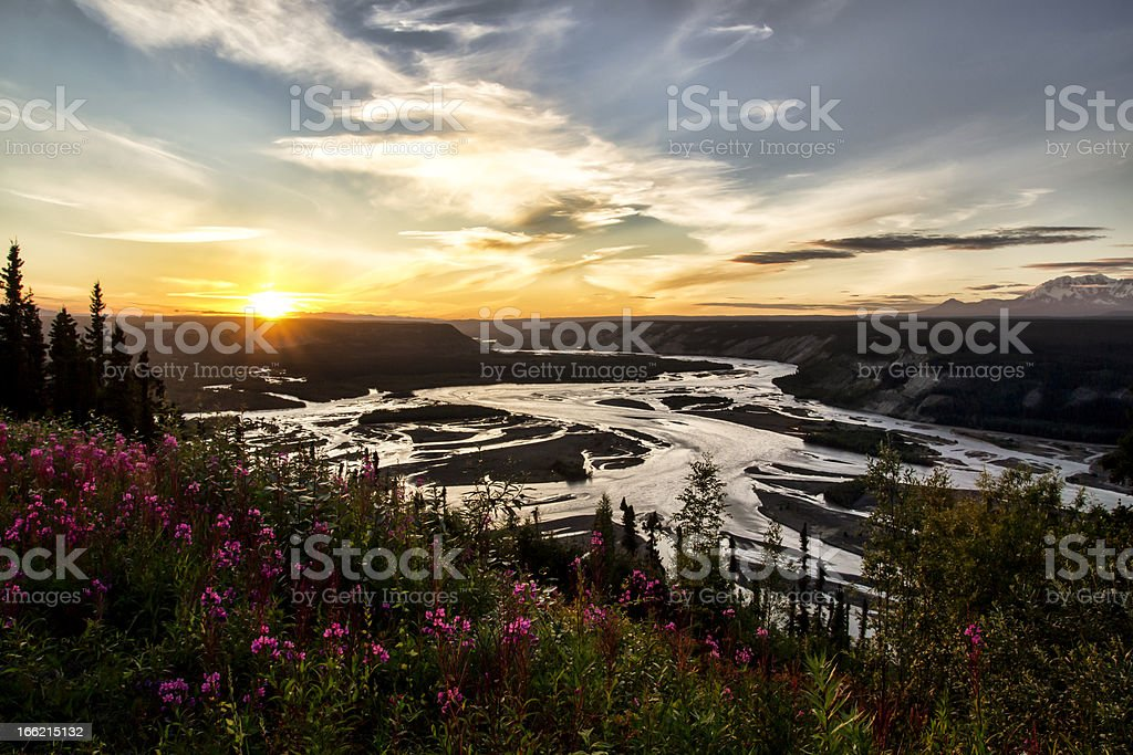 Copper River at Sunset stock photo