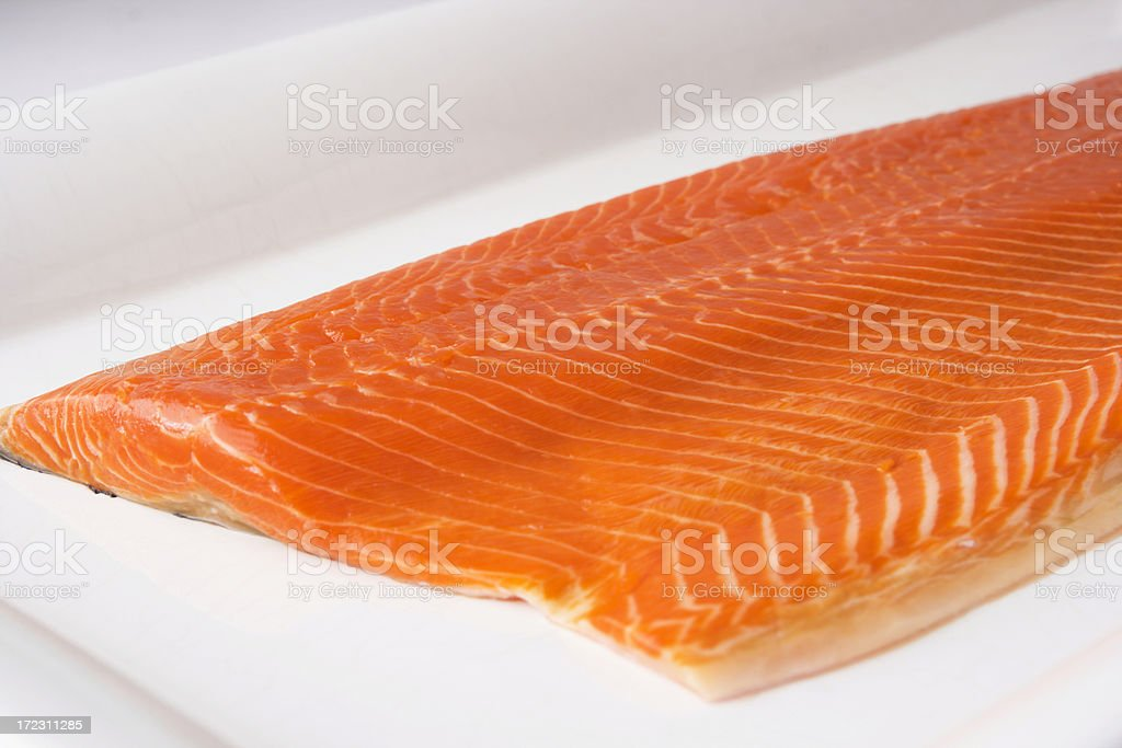 Copper River Sockeye Salmon Raw Fish Fillet on White Platter royalty-free stock photo