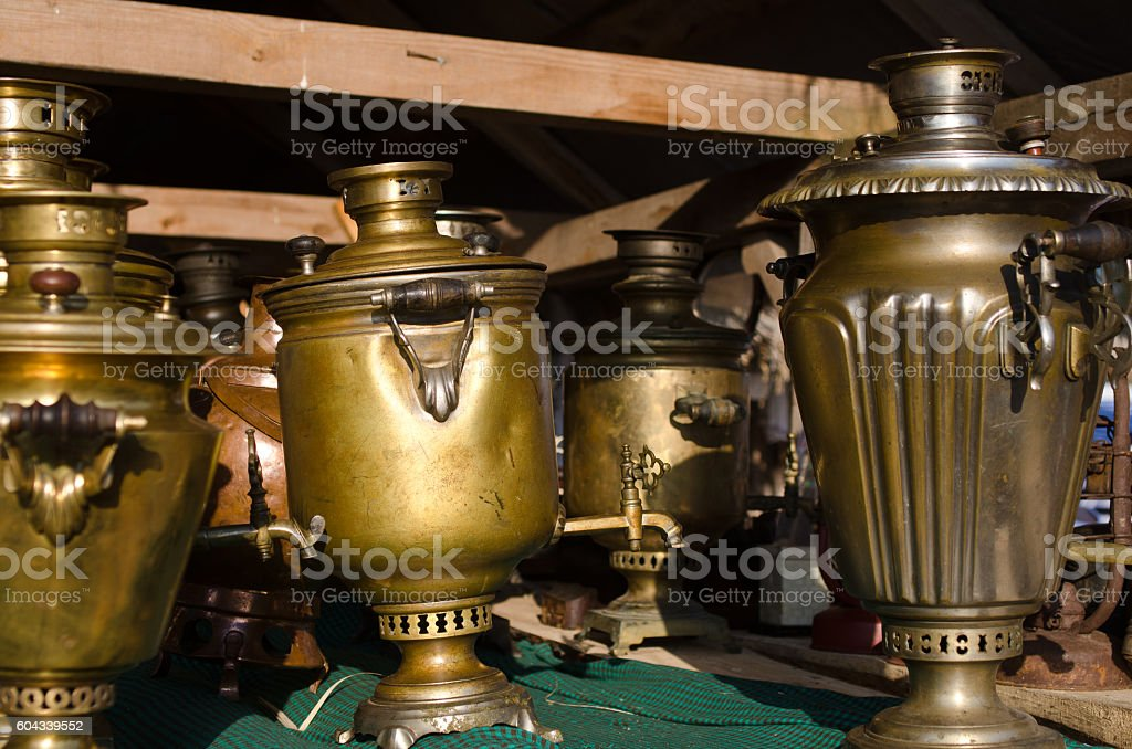 copper samovars on show stock photo