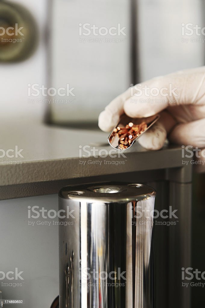 Copper sample for research royalty-free stock photo