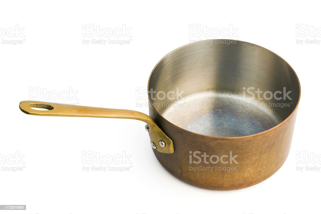 Copper Saucepan Isolated on White royalty-free stock photo