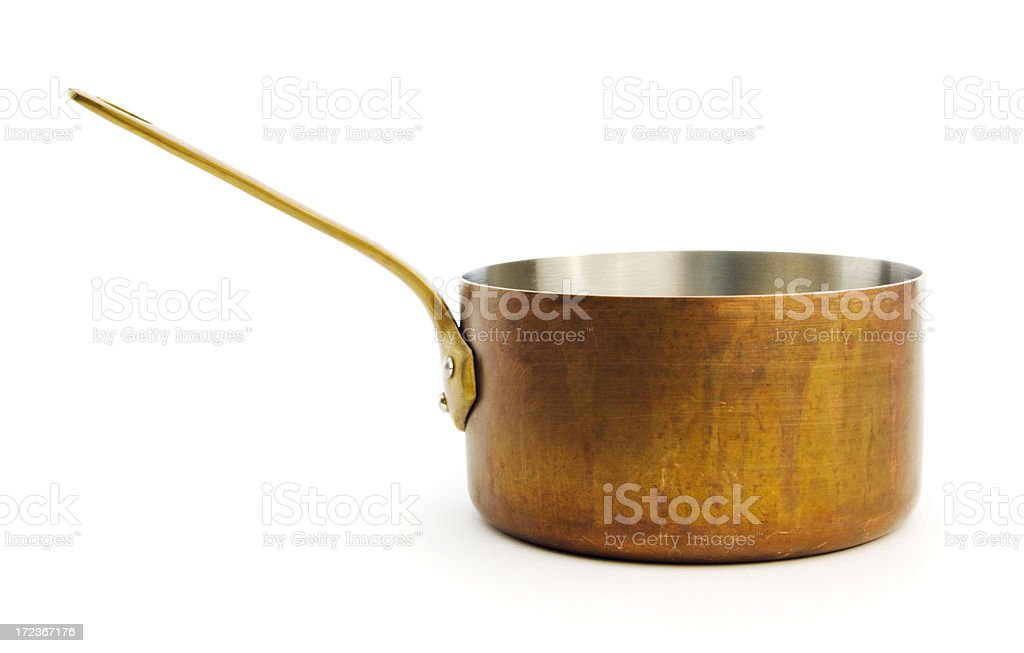 Copper Saucepan Kitchen Cooking Pan Isolated on White Background stock photo