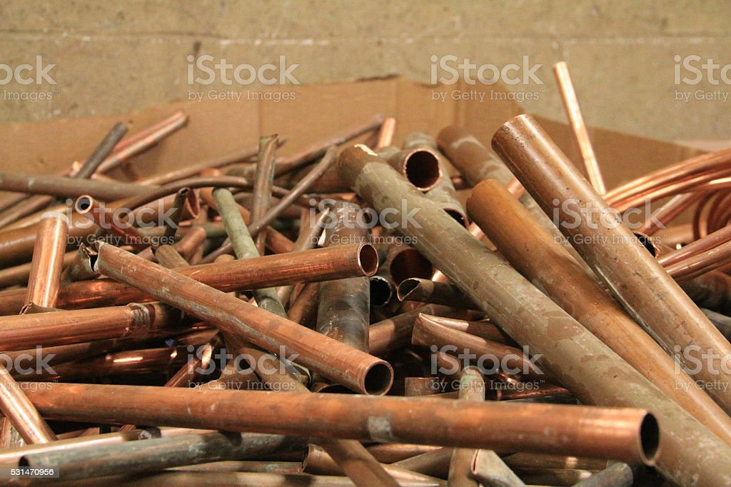Copper scrap stock photo