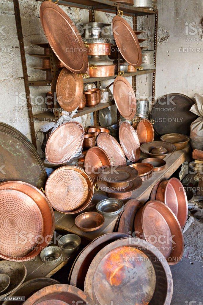 Copper shop, Adiyaman, Turkey. stock photo