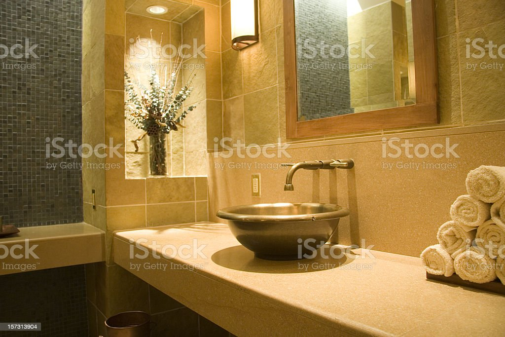 Copper Sink in Bathroom royalty-free stock photo