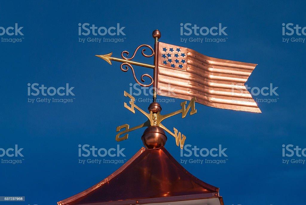 Copper Stars and Stripes Weathervane stock photo