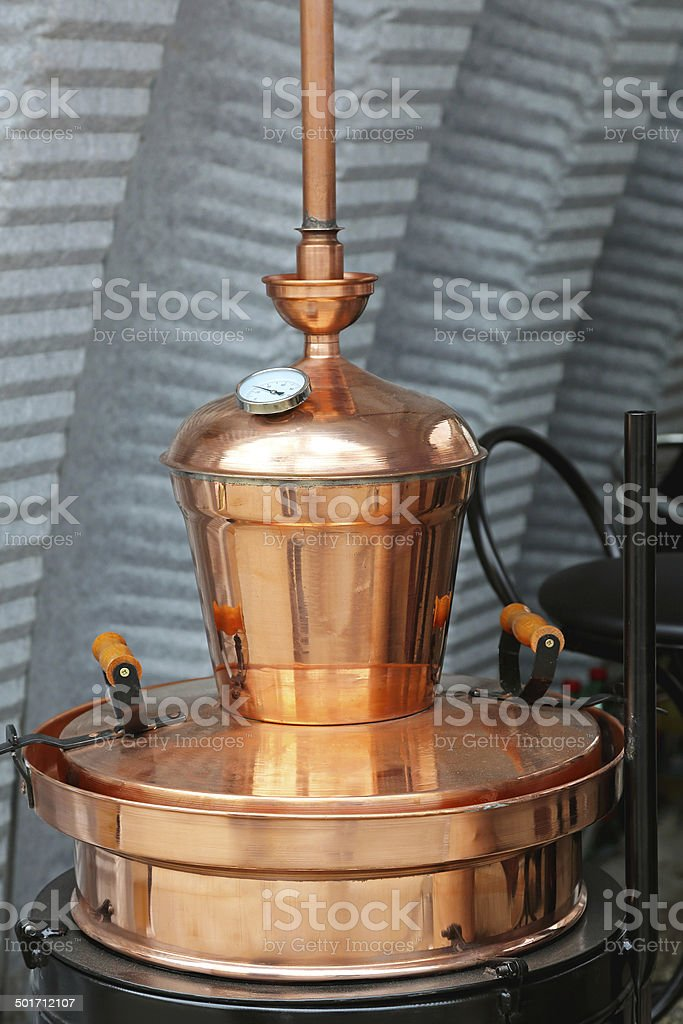 Copper still stock photo
