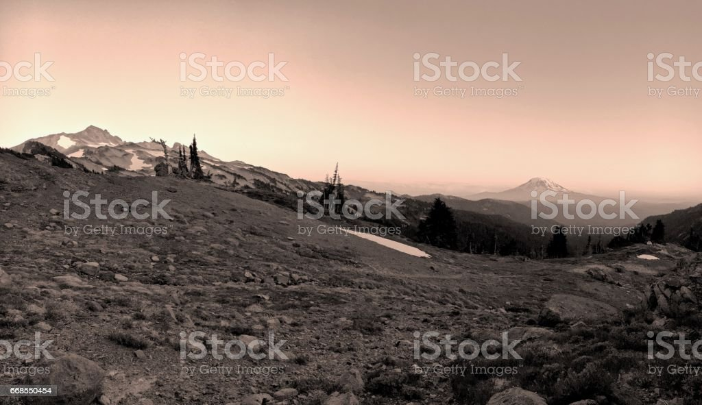 Copper Sunset in the Mountains stock photo