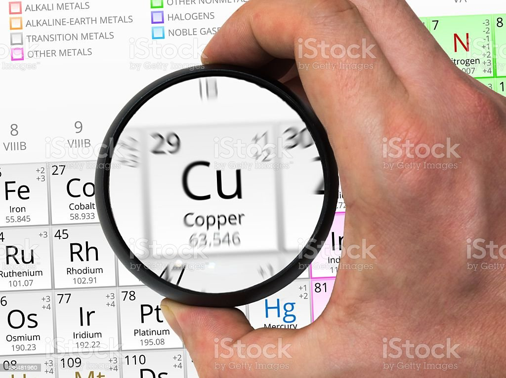 Copper symbol. Element of the periodic table zoomed with ma stock photo