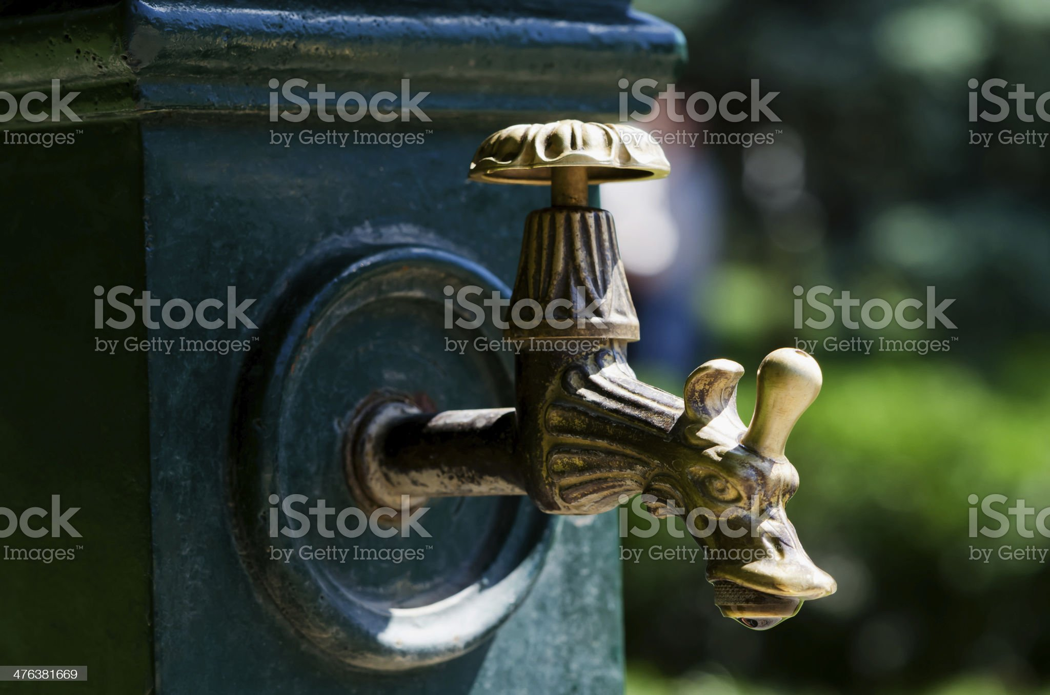 Copper tap in the form of a dragon royalty-free stock photo