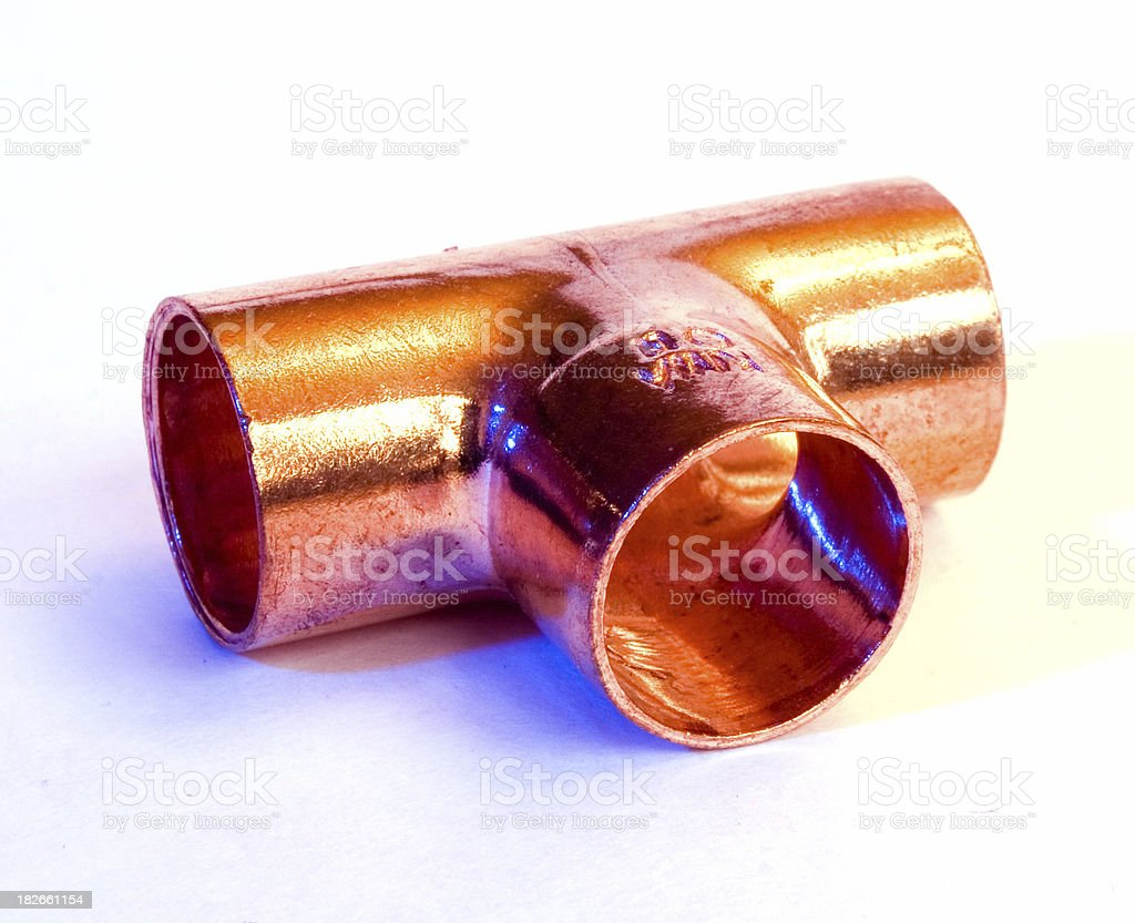 Copper T-joint stock photo