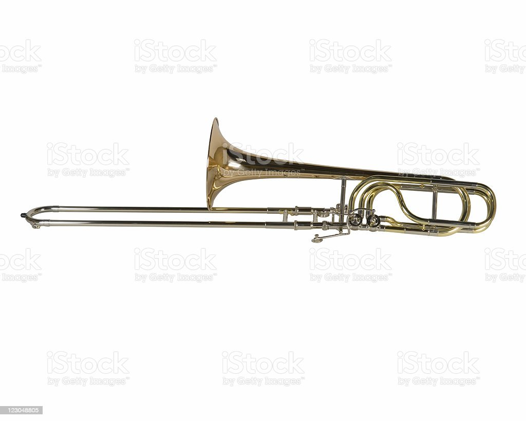 Copper trombone isolated on white background royalty-free stock photo
