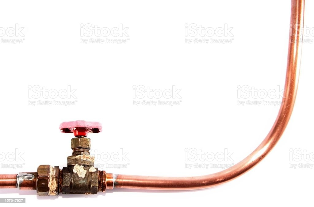 copper tube with red valve stock photo