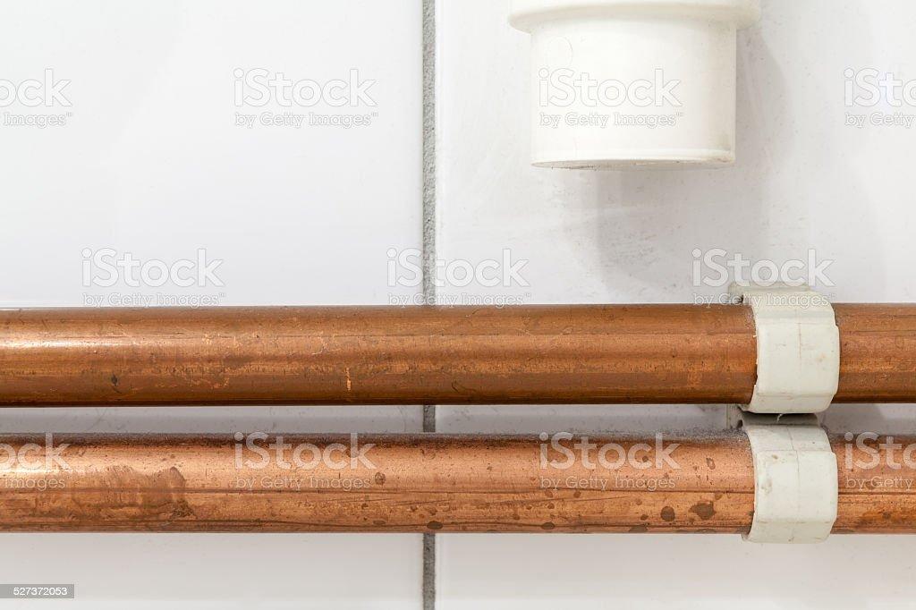 copper tubes stock photo