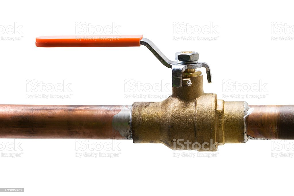 Copper Water Pipe, Shut off Valve Isolated on White Background stock photo
