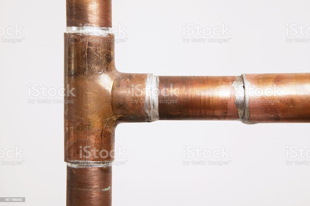 Copper Water Pipes and T Joint Sweat Fitted stock photo
