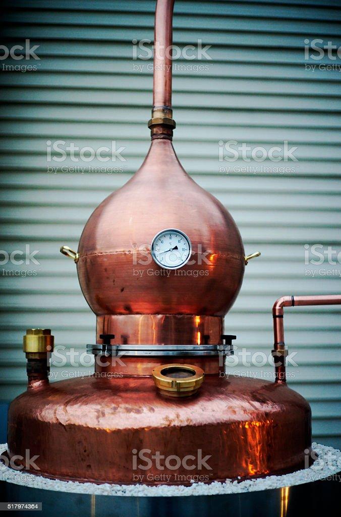 Copper Whiskey Distiller Vat stock photo