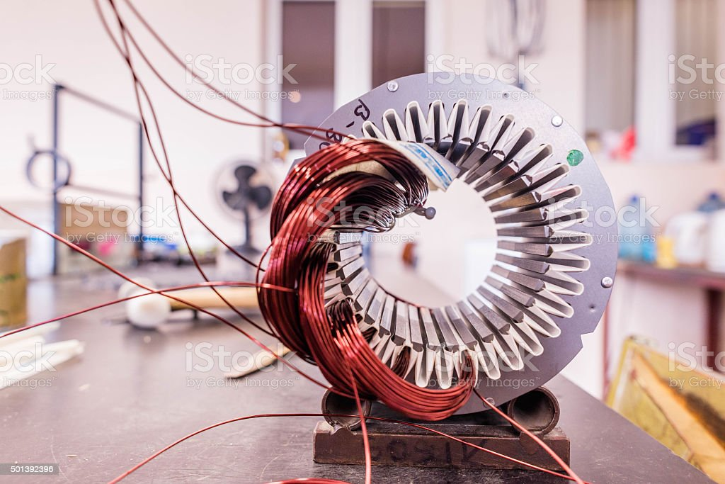 Copper wire in a motor, electric magnetic device for rotor stock photo