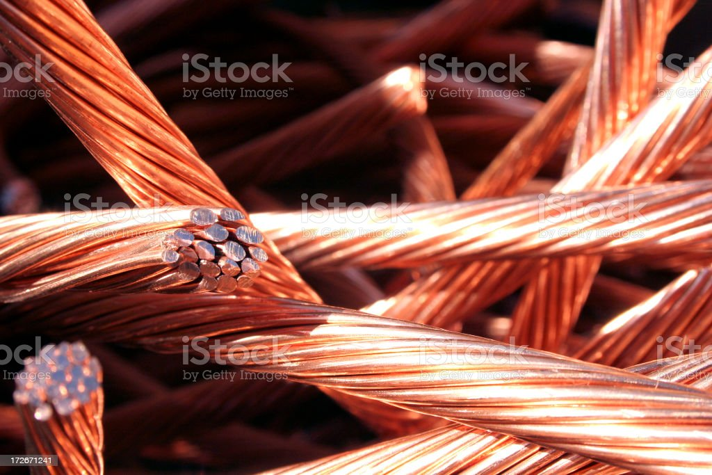 Copper wire with green and white background stock photo