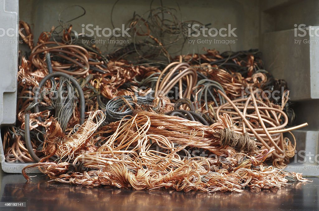 copper wires recycling stock photo