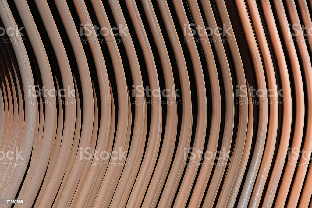 Copper-brass piping of machinery radiator stock photo