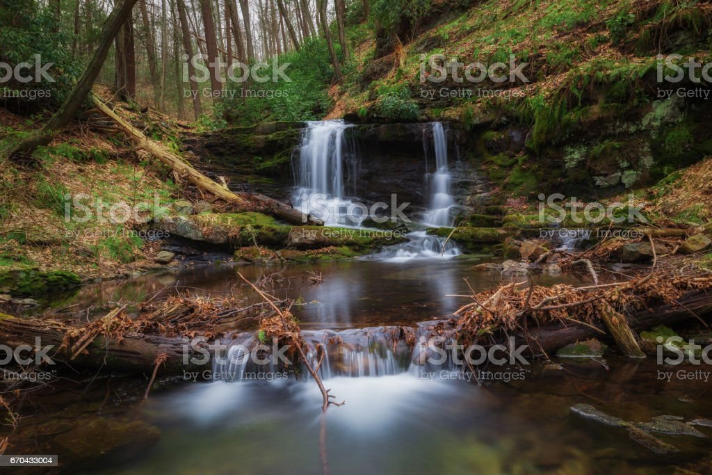Coppermine Trail waterfall in New Jersey stock photo