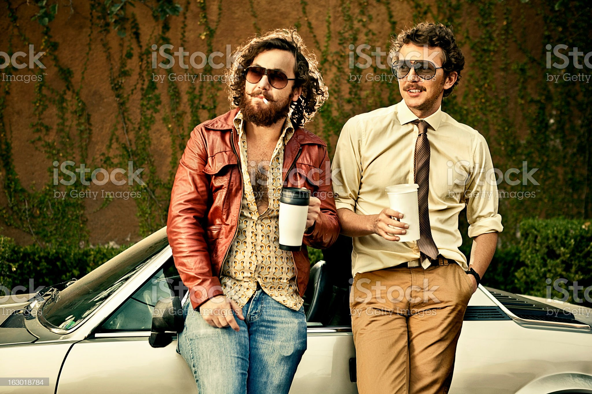 Cops with retro style having coffee royalty-free stock photo
