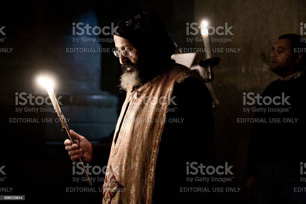 Coptic monk in Holy Sepulchre Church stock photo