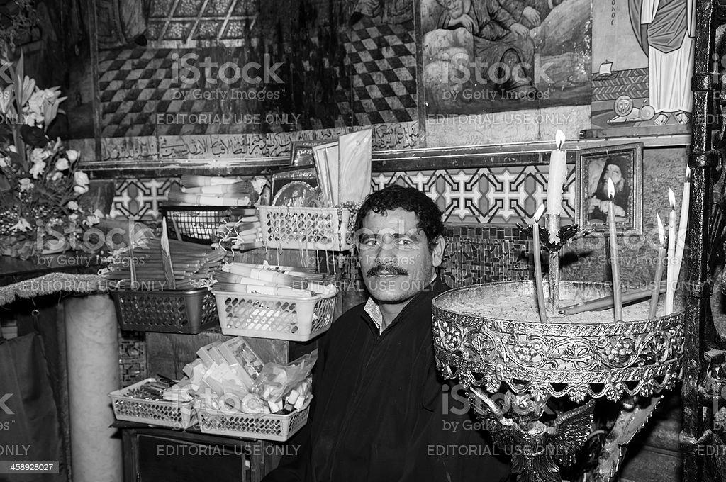 Coptic Orthodox monk in Jerusalem royalty-free stock photo