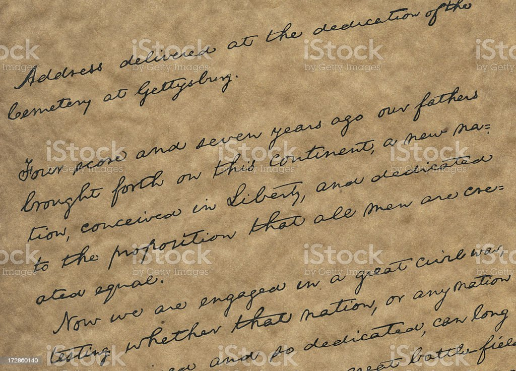 copy of the Gettysburg Address stock photo