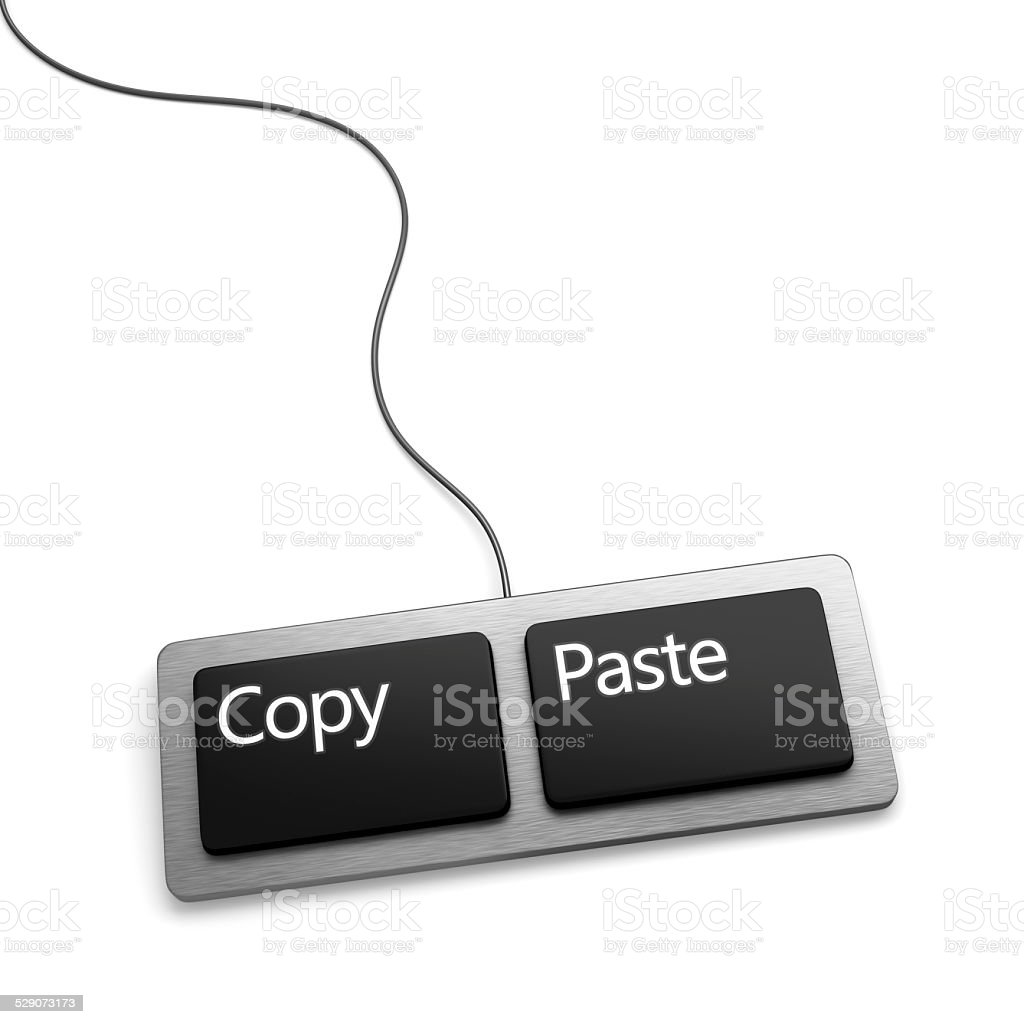 Copy paste keyboard (plagiarist tool) stock photo