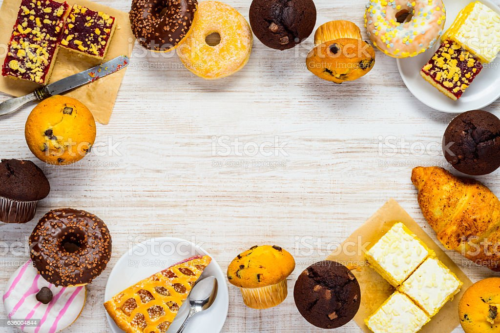 Copy Space Frame with Cakes, Cookies and Dessert Food stock photo