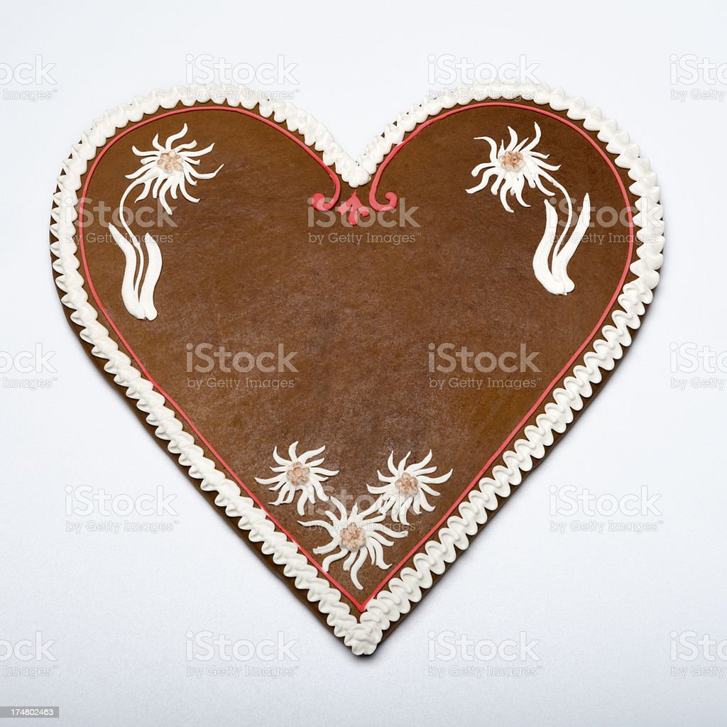 Copy space Gingerbread Cookie Heart stock photo