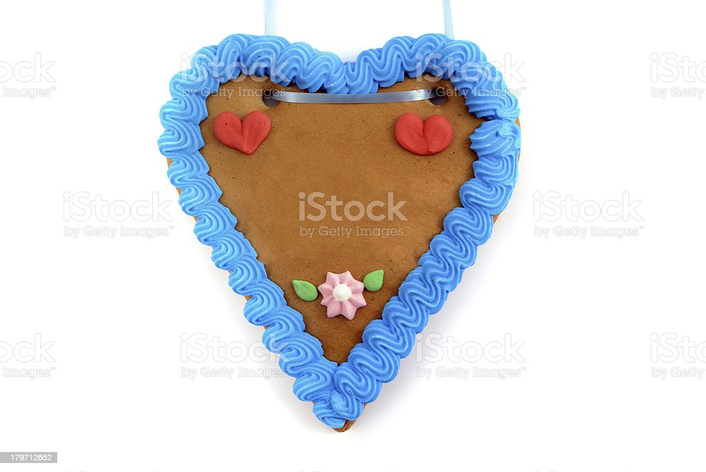 copy space gingerbread heart for Oktoberfest royalty-free stock photo
